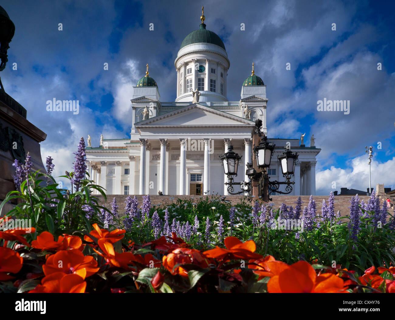 The landmark Helsinki Cathedral with dramatic sky Senate Square Helsinki Finland - Stock Image