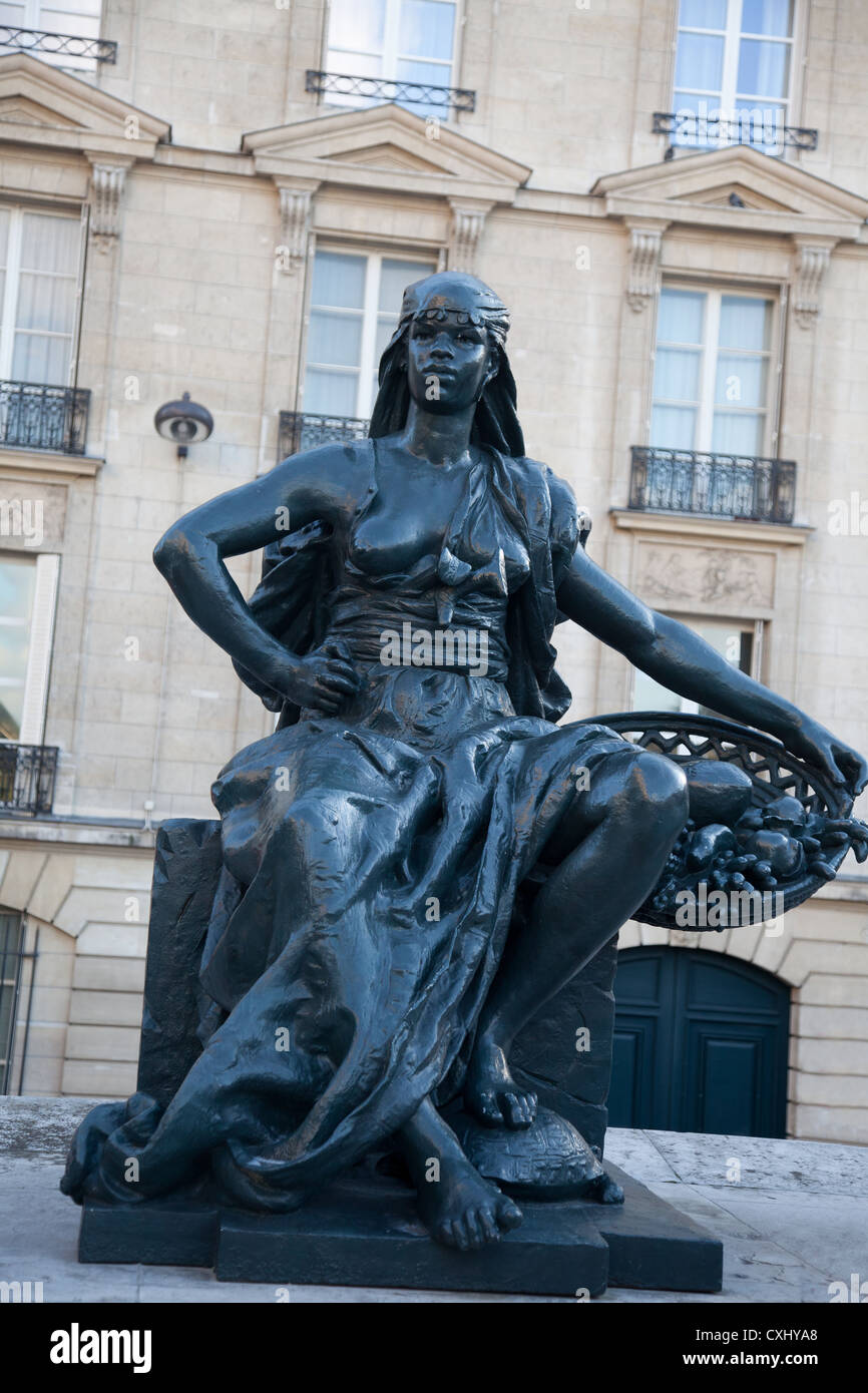Sculpture representing L'Afrique (Africa) by Eugène Delaplanche (1836-1891)in the courtyard of the Musée - Stock Image