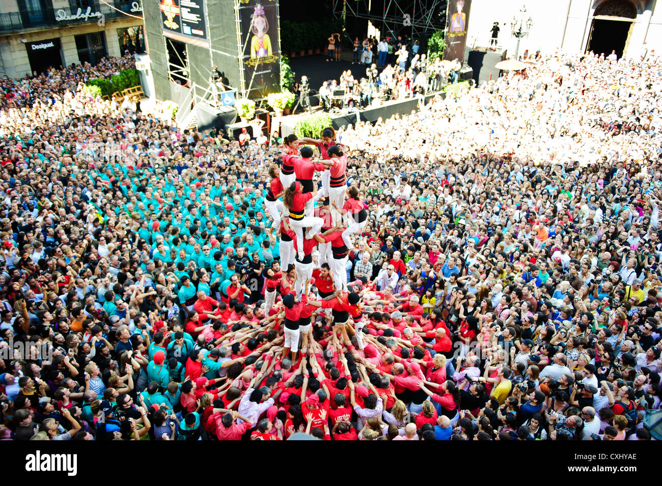 Castellers (Human Castles) at the St. Jaume Square for the last day of 'La Merce' Festival in Barcelona, - Stock Image