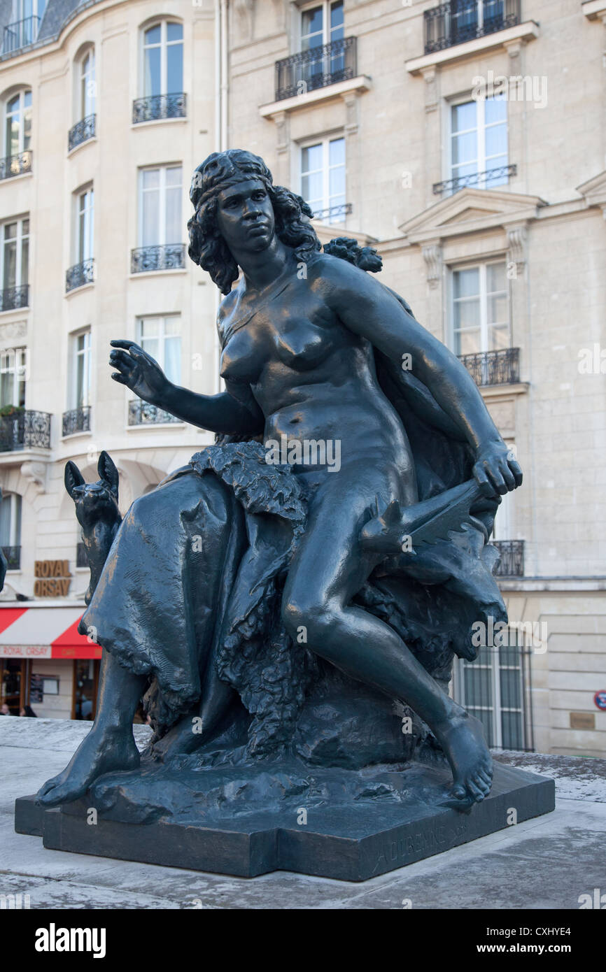 Oceanie, statue by French sculptor Mathurin Moreau (1822-1912) representing Australasia, in the courtyard of the - Stock Image