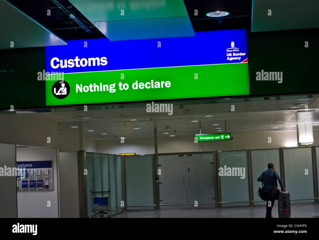Green Channel 'nothing to declare' Customs scrutiny point at London Heathrow UK - Stock Image