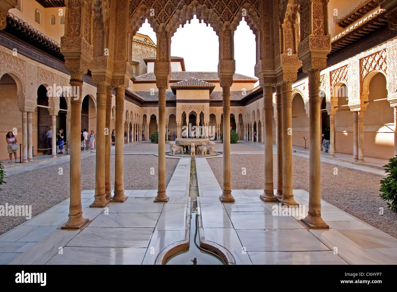 Patio De Los Leones Alhambra Granada Andalusia Spain Patio De Los