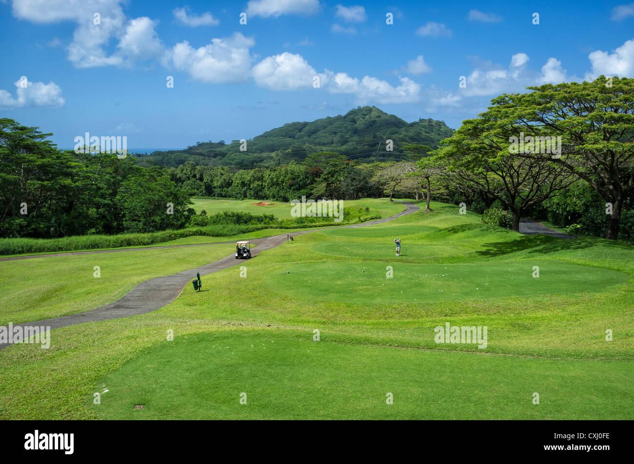 Ko'olau Golf Club near Ko'olau Range in Kaneohe, Hawaii. - Stock Image