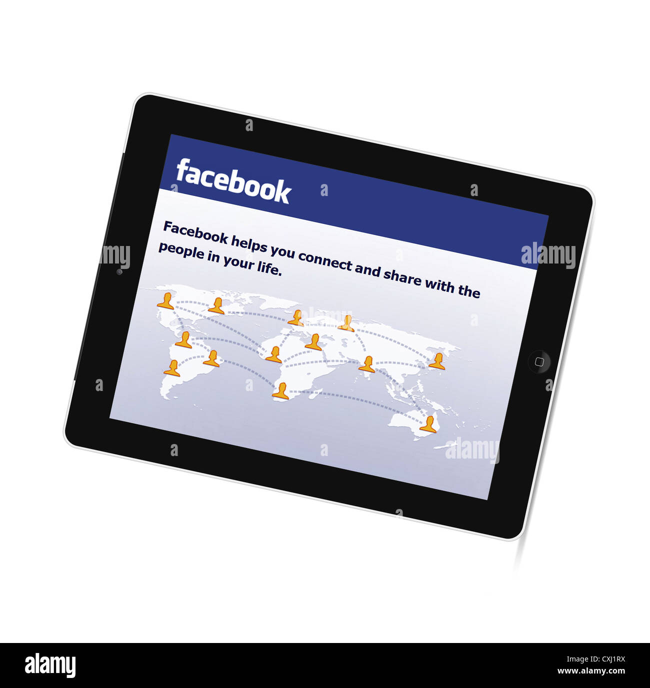 Facebook on the New Generation iPad tablet from Apple - Stock Image