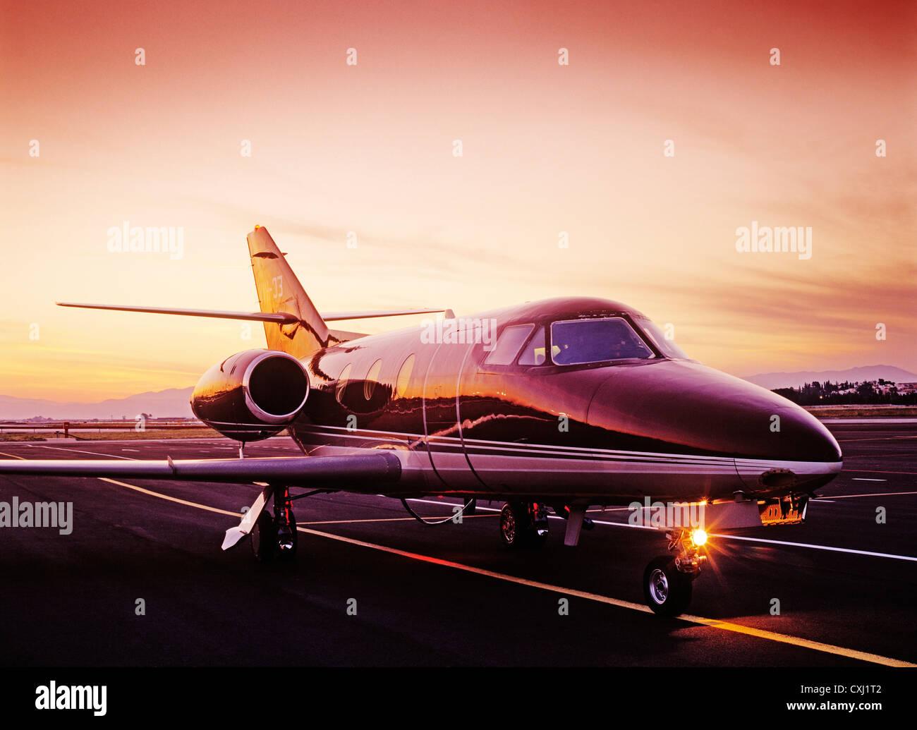 private plane runway airport Malaga Costa del Sol Andalusia Spain avion privado pista del aeropuerto andalucia españa - Stock Image