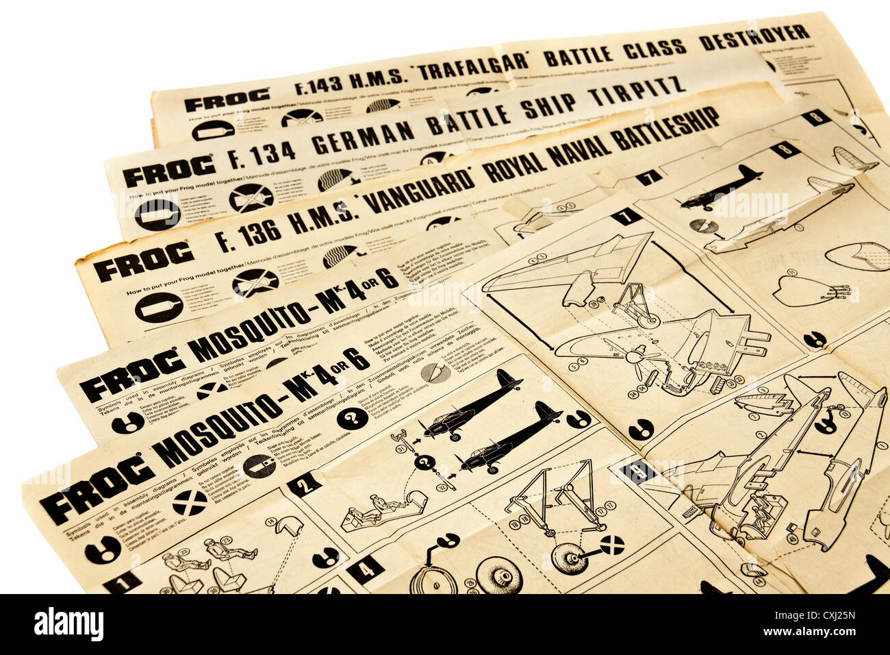Collection of vintage assembly instructions for FROG (IMA Ltd) battleship and aircraft models - Stock Image