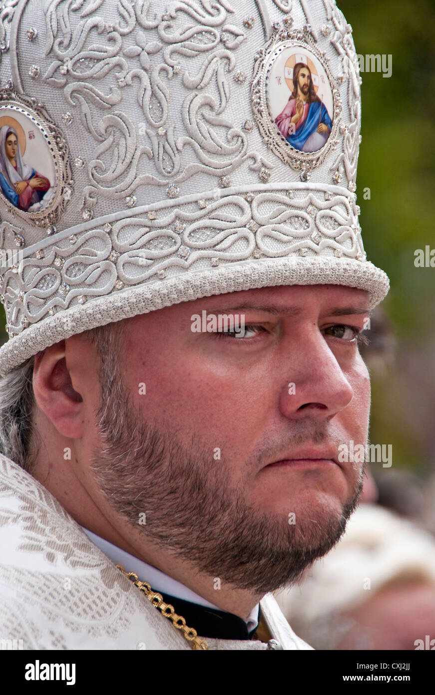 Ukrainian Orthodox Christian priest in Odessa, Ukraine. - Stock Image