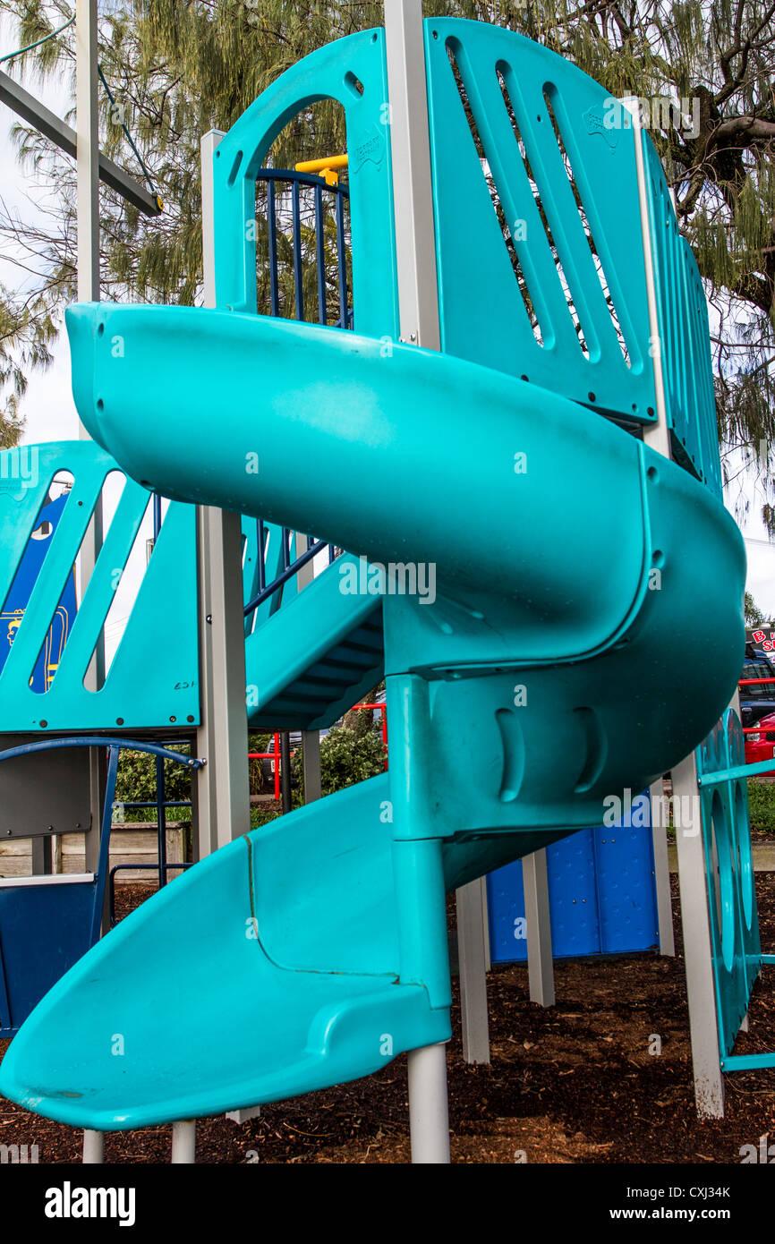 Slippery Slide at Sunshine Coast childrens playground - Stock Image