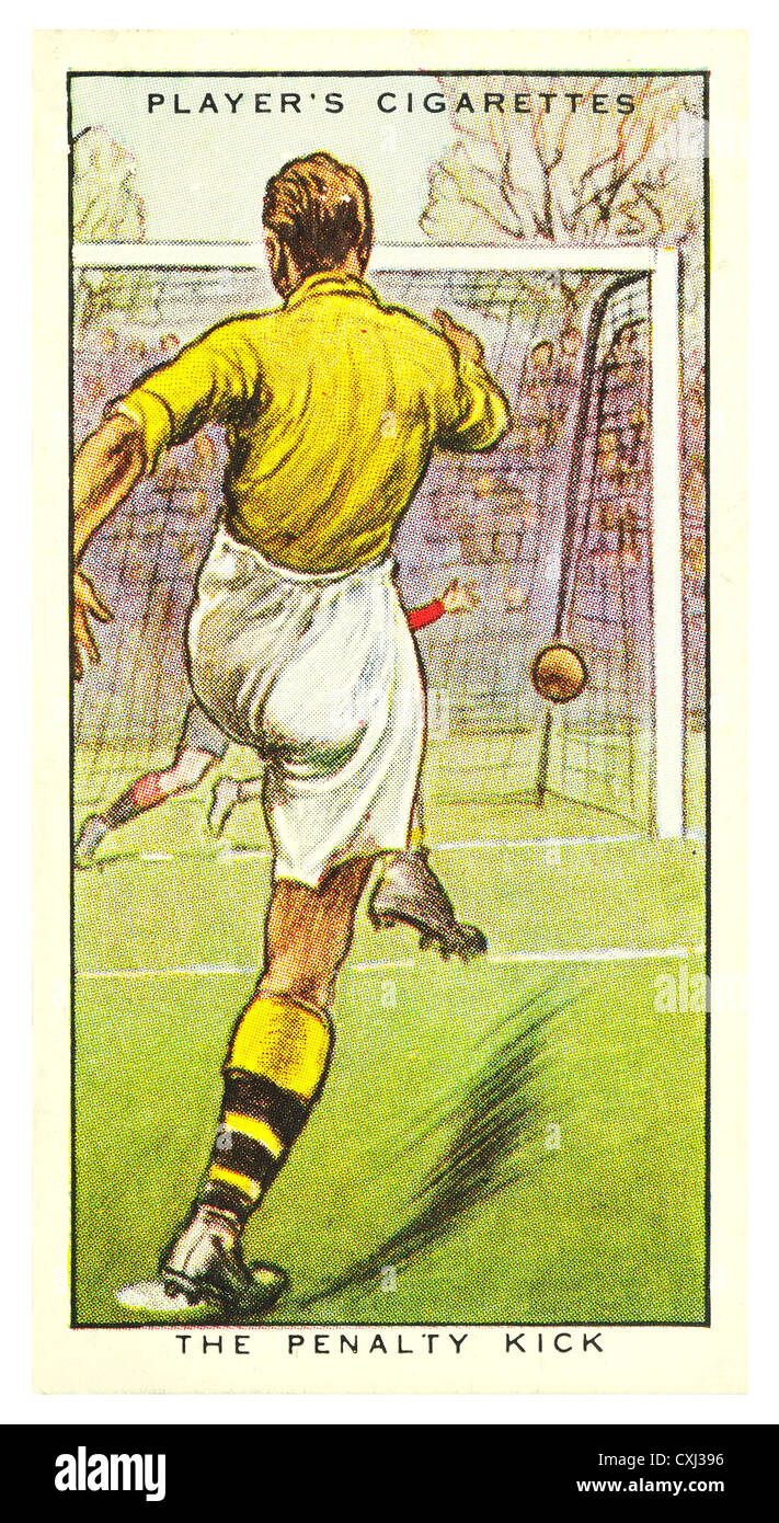 Cigarette Card; 'Hints on Association Football' (John Player and Sons, 1934) The Penalty Kick - Stock Image