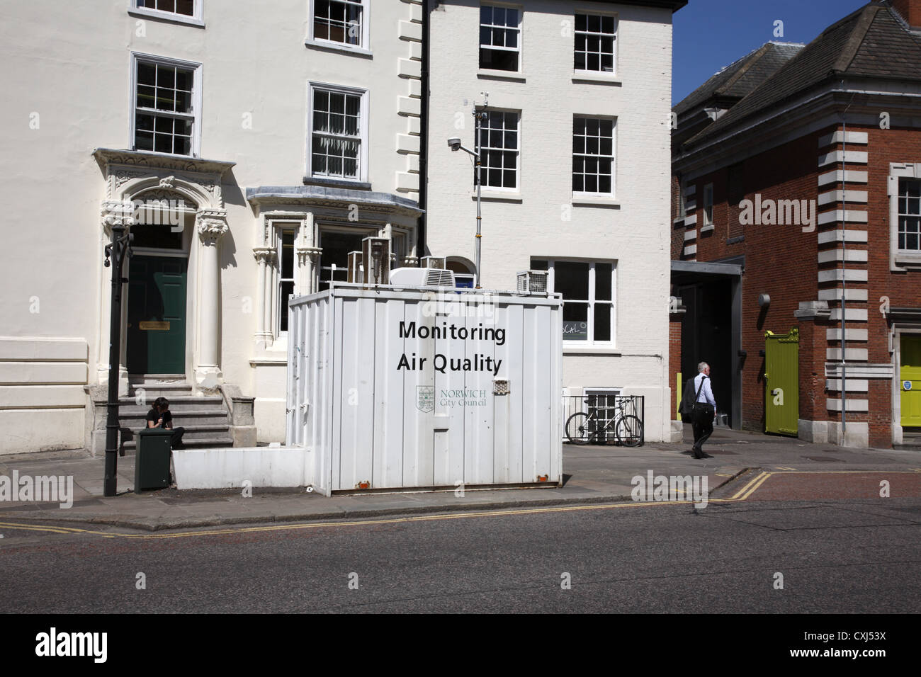 Air pollution monitoring station in Norwich UK. - Stock Image