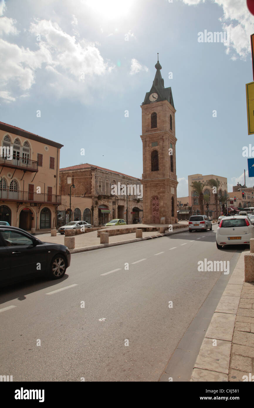 The Clock Square, Jaffa, Tel-aviv, Israel with blue sky and clouds - Stock Image