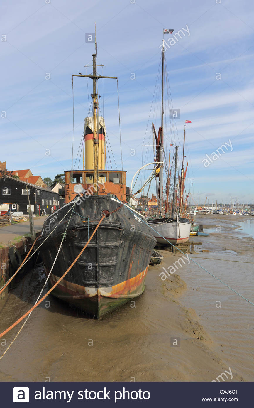 steam tug at maldon at the head of the river blackwater in essex - Stock Image