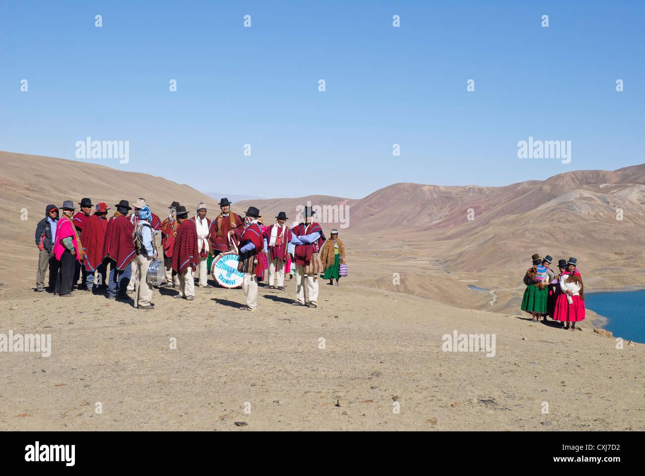 Andean musicians in the Cordillera - Stock Image