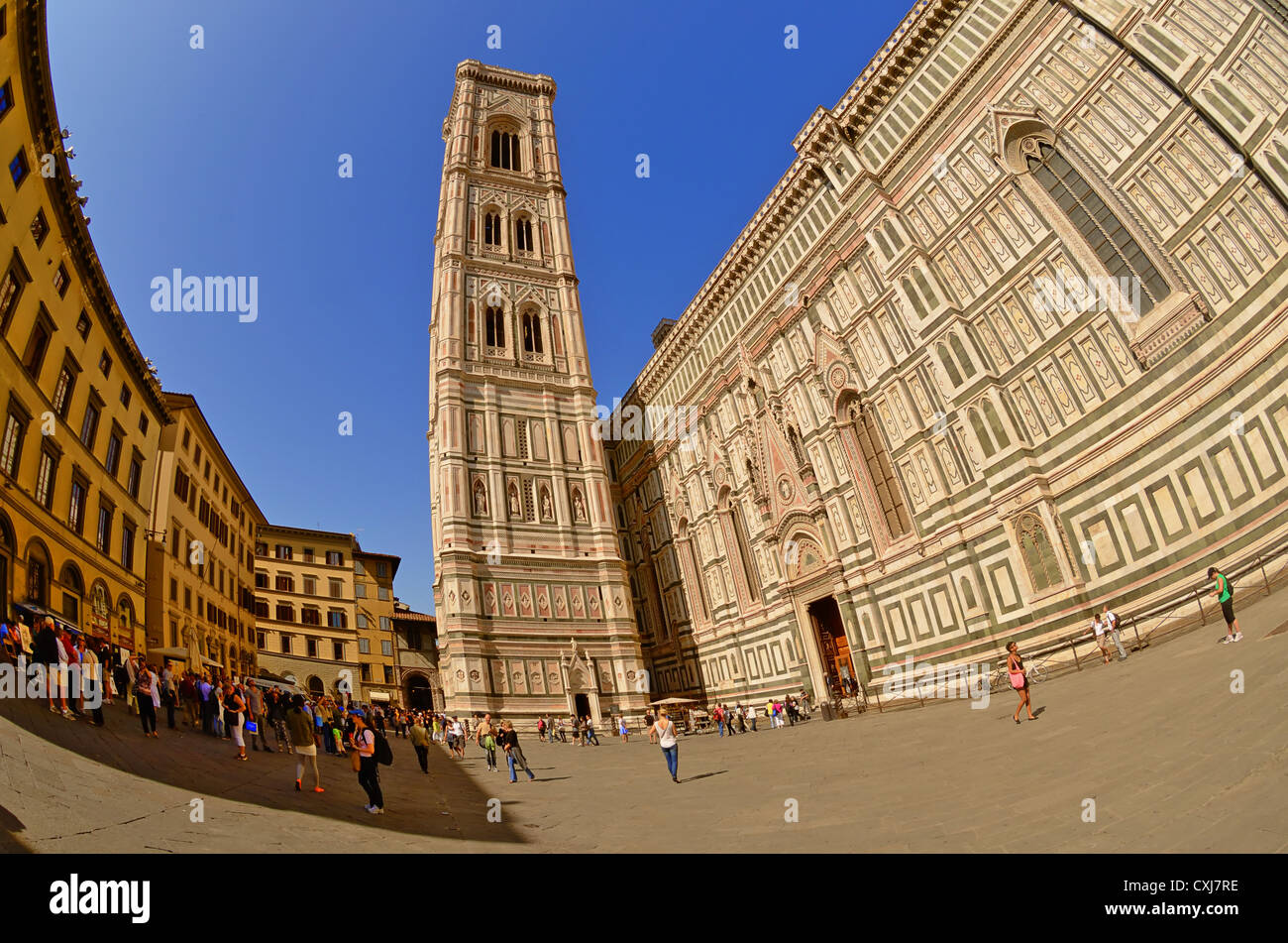 Directly next to the Duomo di Santa Maria del Fiore, in Florence, stands the Campanile or bell tower' designed by Stock Photo