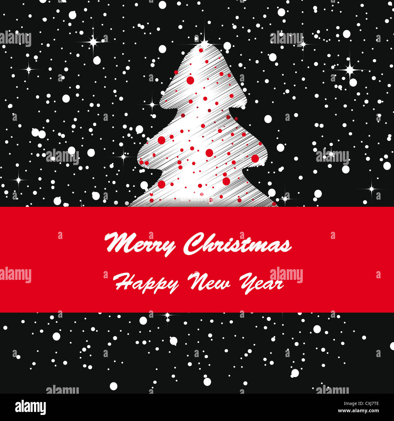elegant and cute merry christmas and new year card stock image