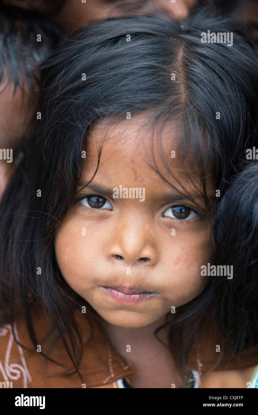 Happy young rural Indian village girl. Andhra Pradesh, India - Stock Image