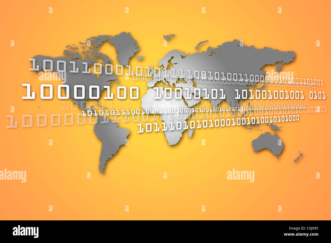 World map with binary code against orange background - Stock Image