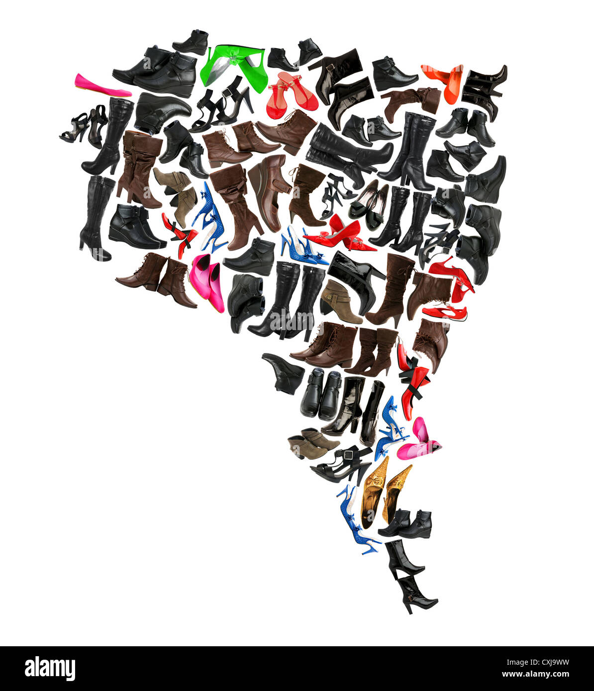 South America continent made of woman shoes Stock Photo