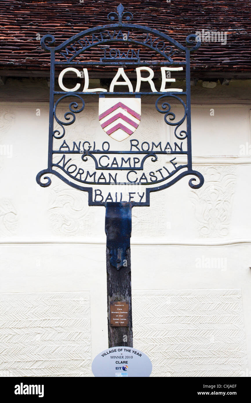 Clare Village Sign Suffolk England - Stock Image