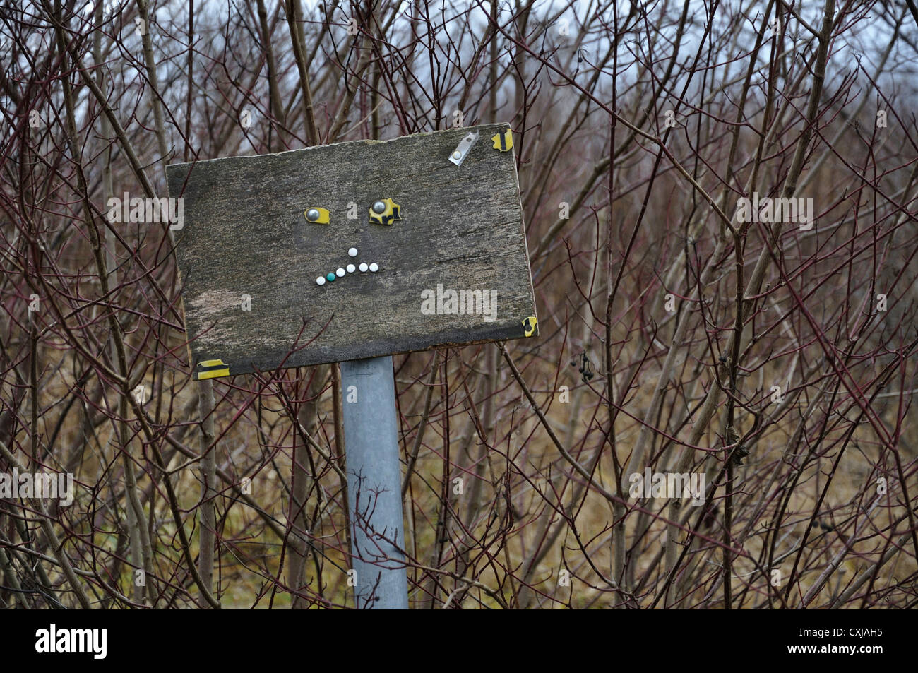 Germany, Bavaria, View of sign post like face - Stock Image