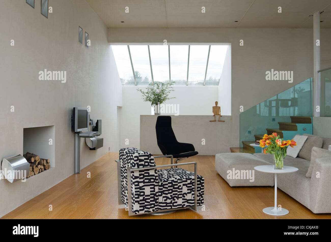 Spacious Open Plan Living Room With Skylight Stock Photo Alamy
