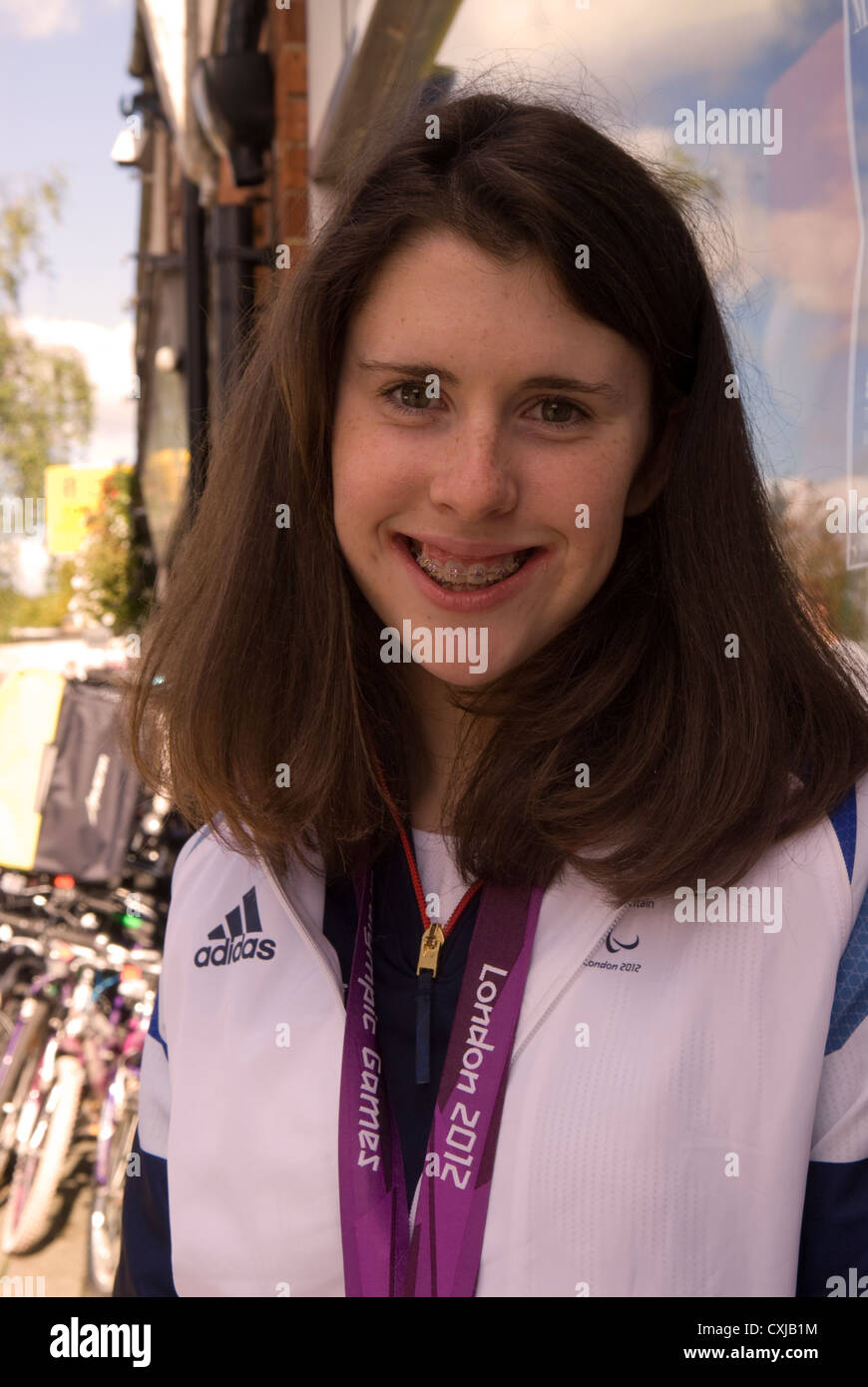 Olivia Breen, Bronze Paralympic medal winner at London 2012 Olympic games. - Stock Image
