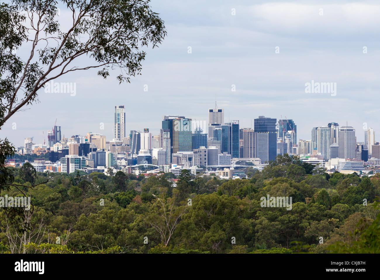 Brisbane city skyline from Mount Coot-Tha, Queensland, Australia - Stock Image