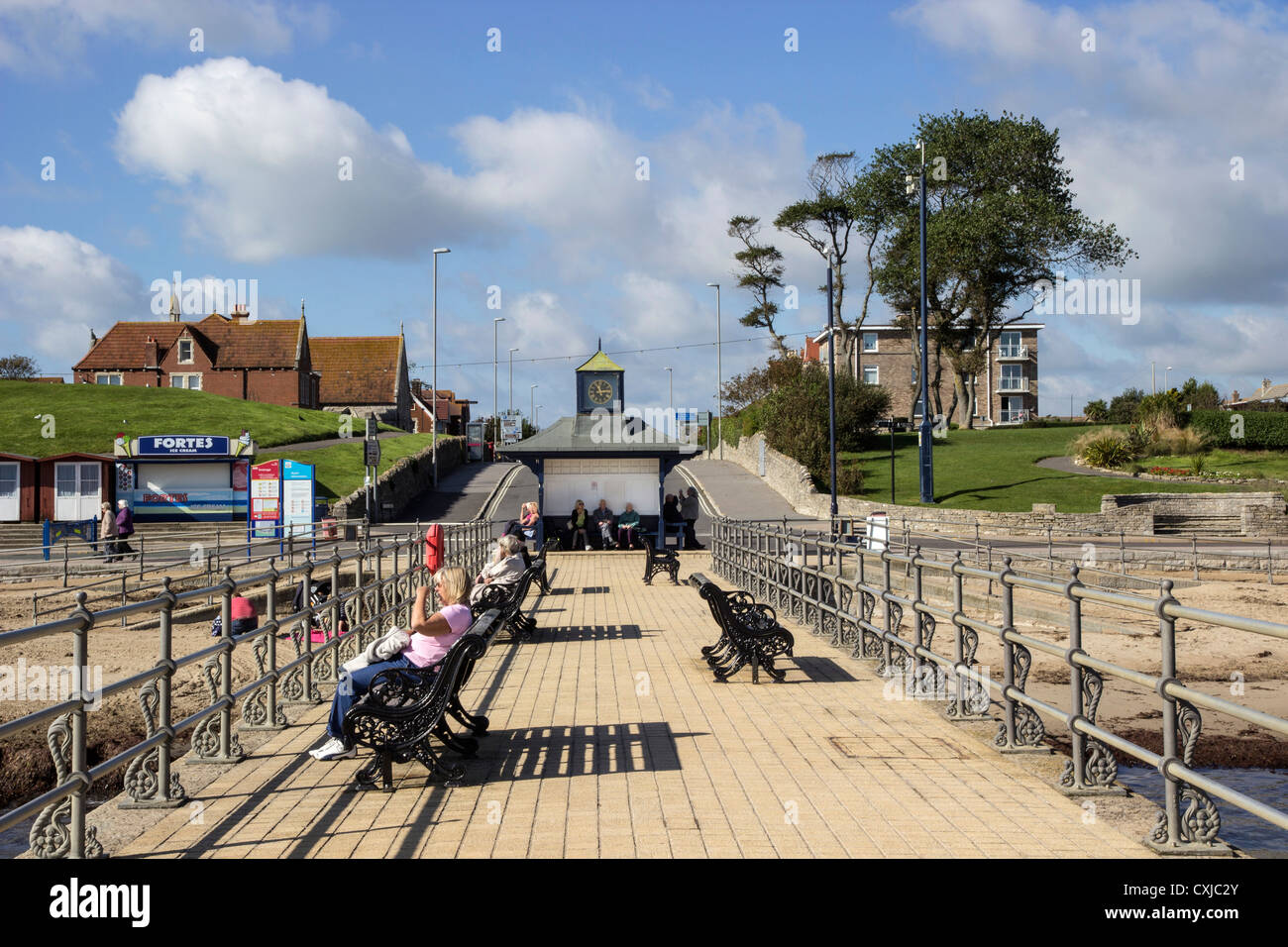 The Banjo Jetty, Swanage  Promenade, Dorset, UK. Europe - Stock Image