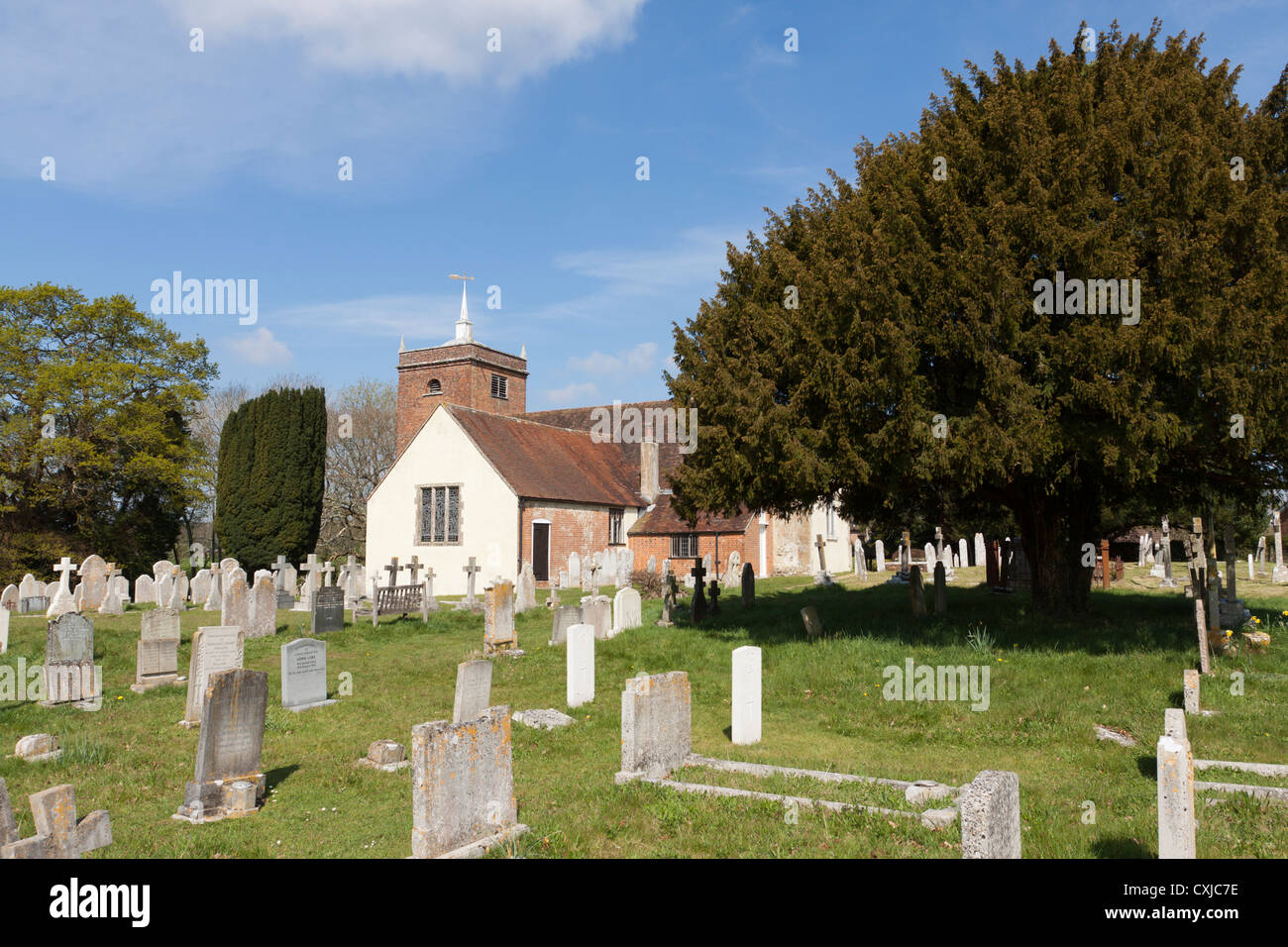 Minstead Church and graveyard, Hampshire, UK - Stock Image