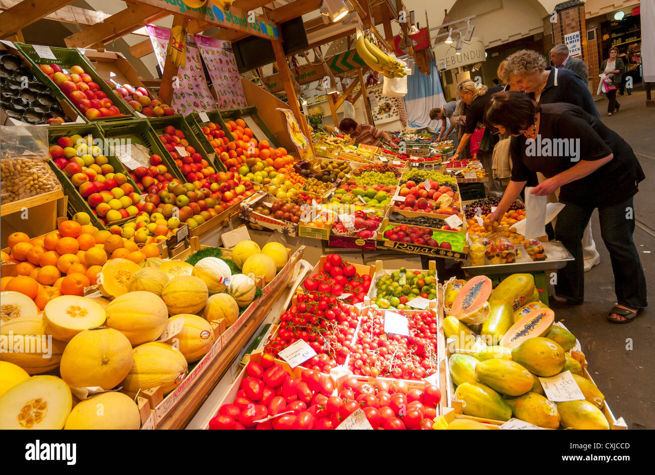 Fresh Fruits on Sale at Stuttgarter Markthalle, Stuttgart, Baden-Württemberg, Germany - Stock Image