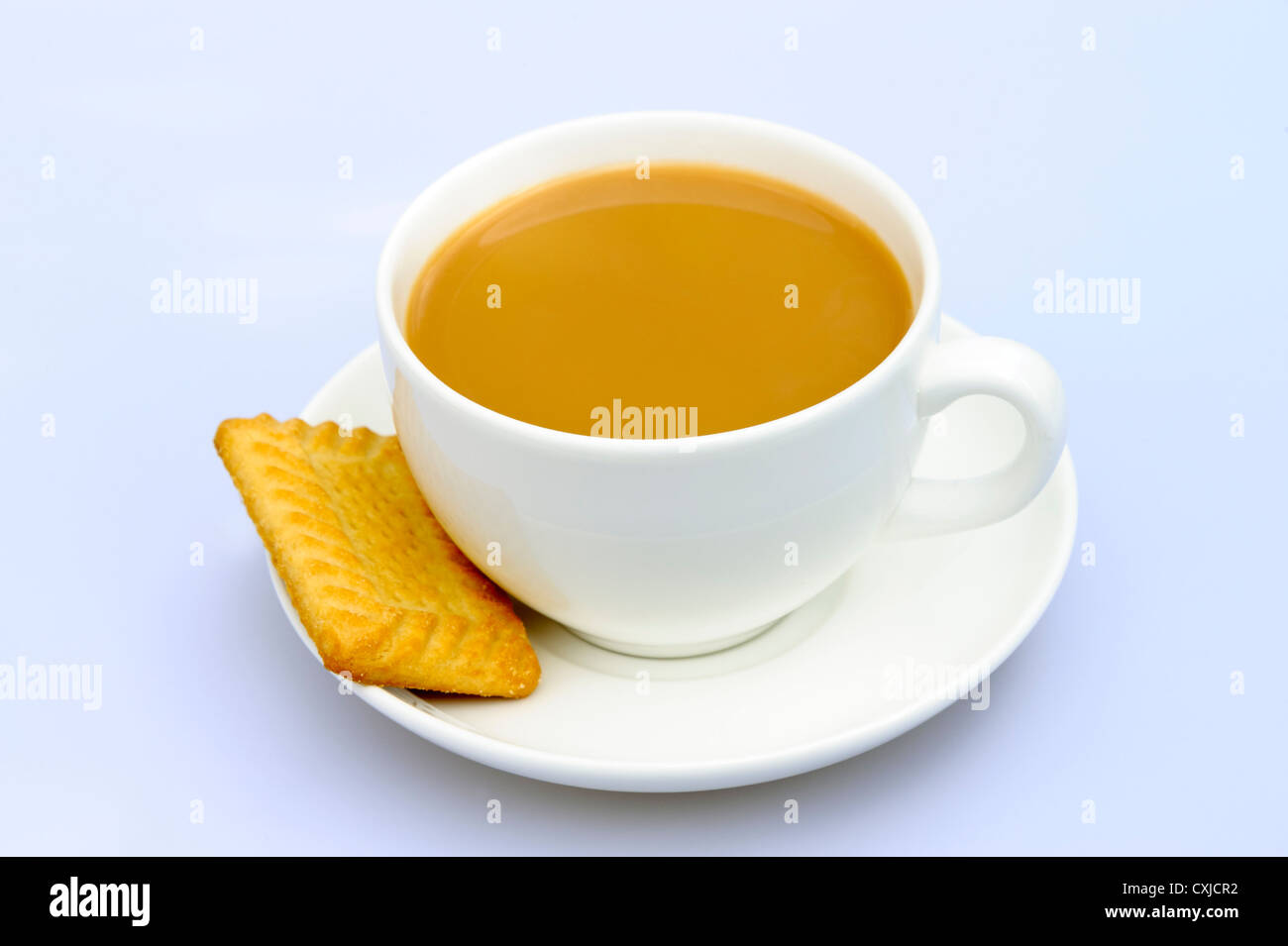 Cup of tea in a plain white cup & saucer. Tea and biscuit, UK. - Stock Image