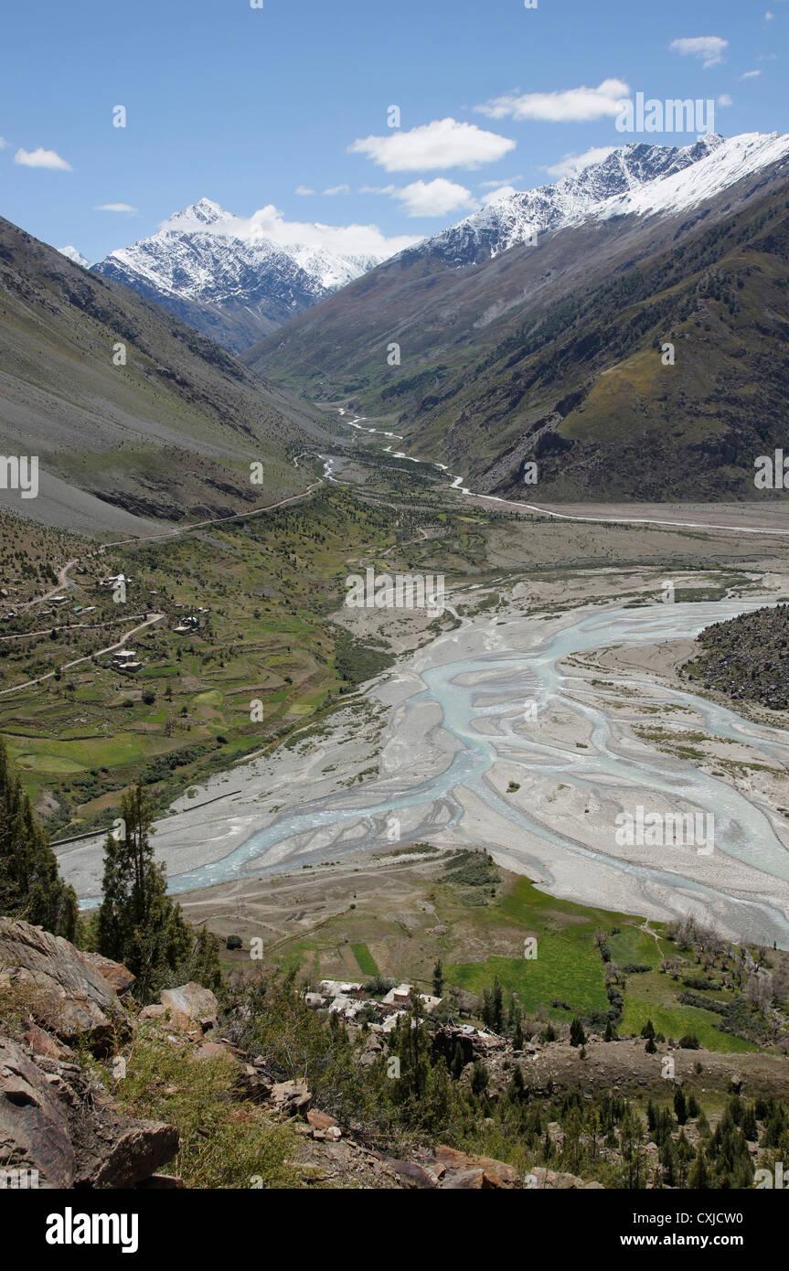 bhaga river, manali-leh highway, lahaul and spiti, himachal pradesh, india - Stock Image