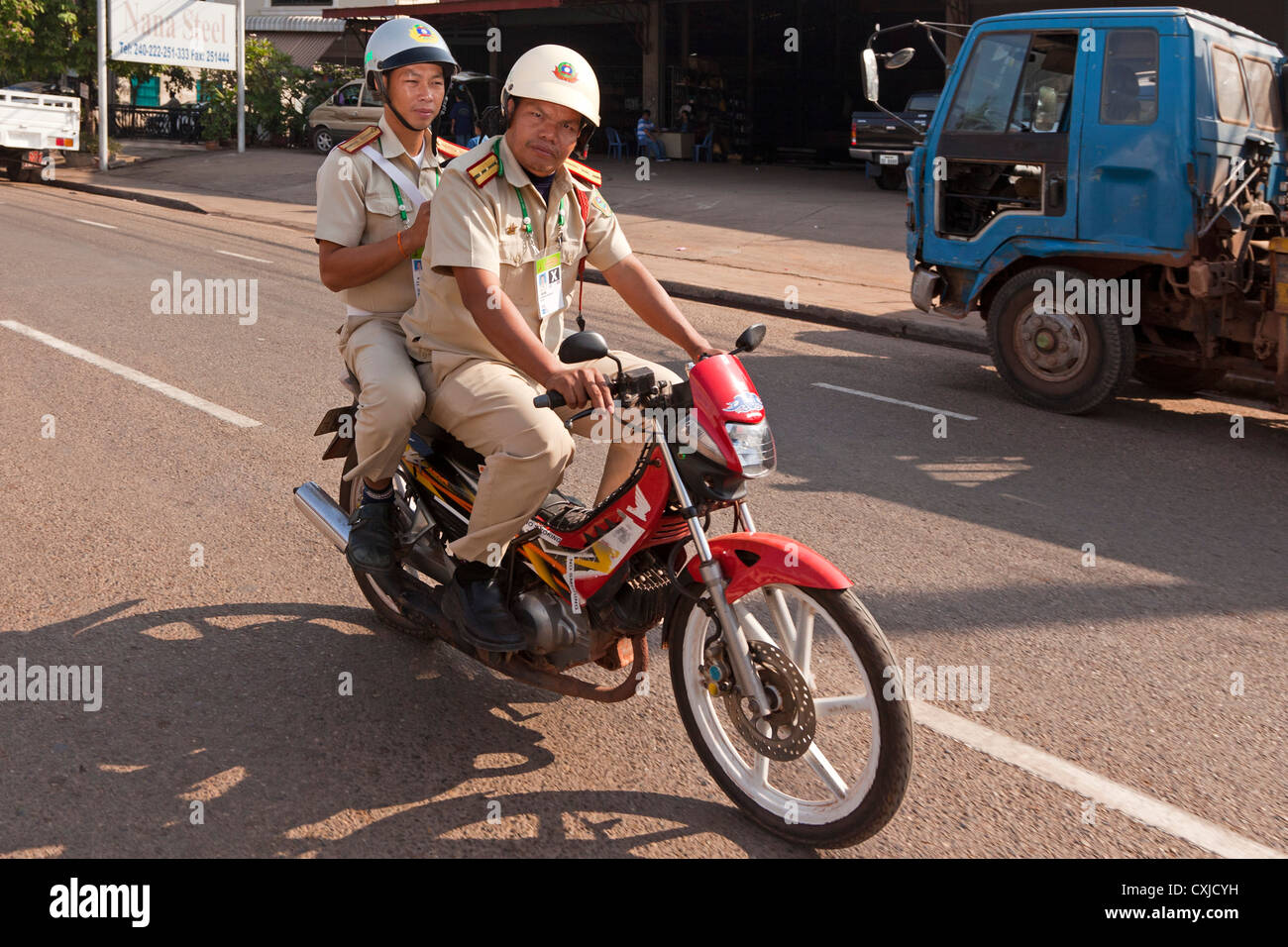 Motorbike, Vientiane, Laos - Stock Image