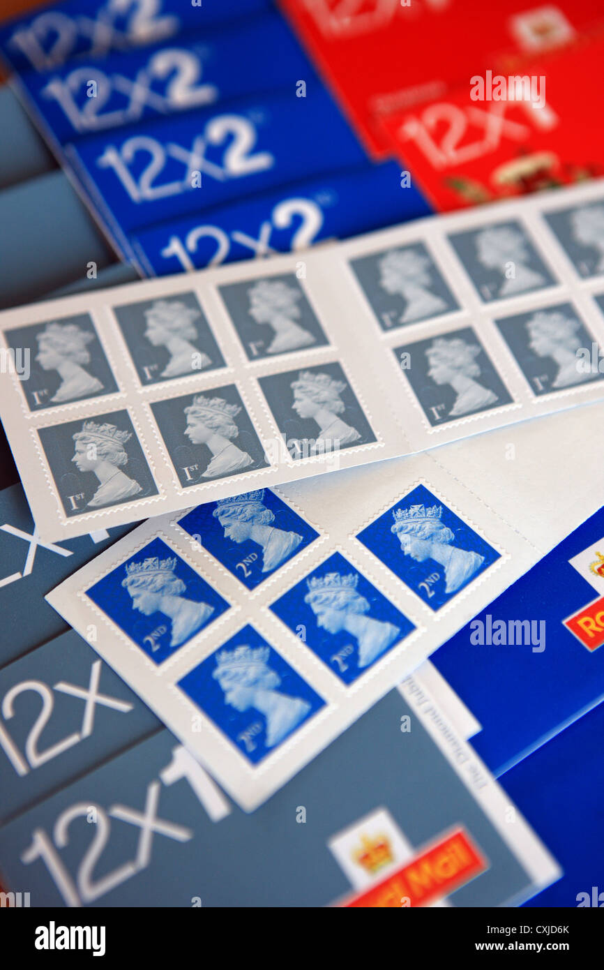 Royal mail 1st and 2nd class stamps - Stock Image