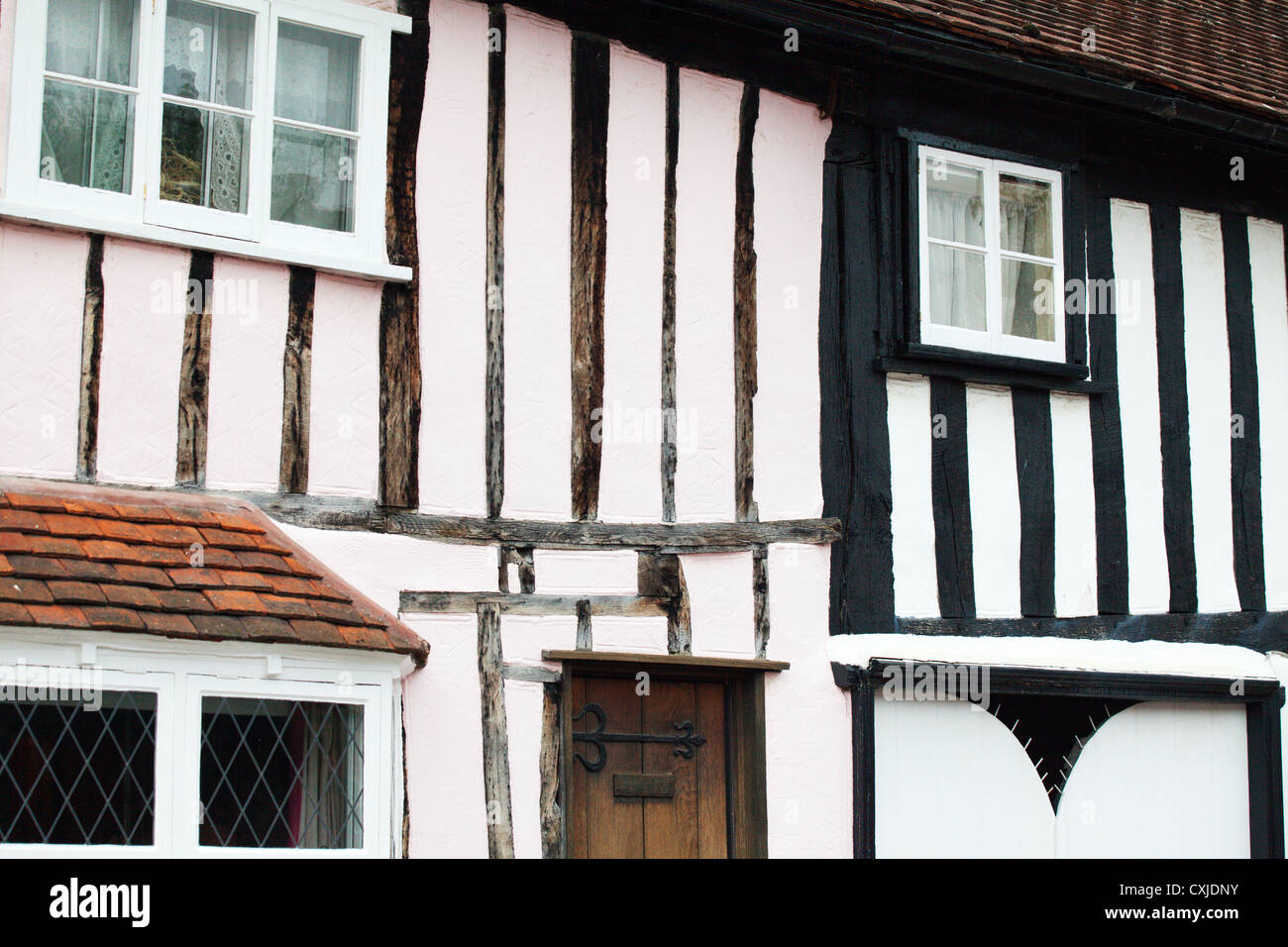 Old Timber Frame Houses at Long Melford Suffolk England Stock Photo ...