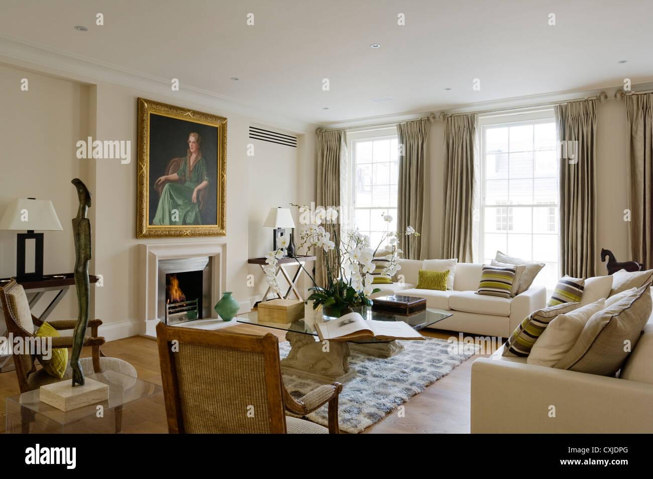 Colour day interior living room seating fireplace furniture window artwork sash window sofa white neutral curtains window