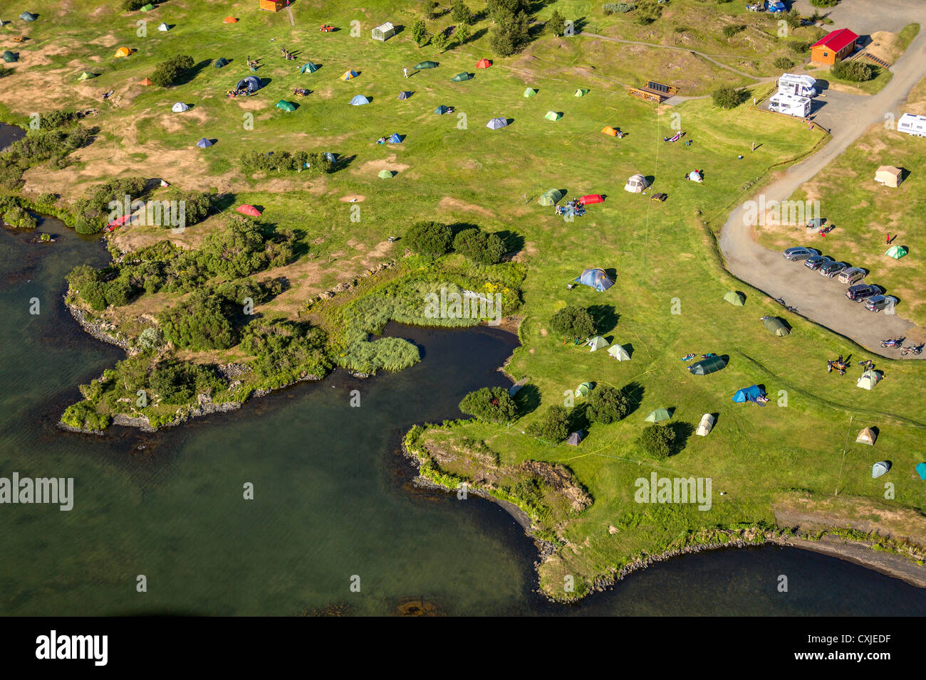 Aerial of campground Lake Myvatn, Northern Iceland - Stock Image