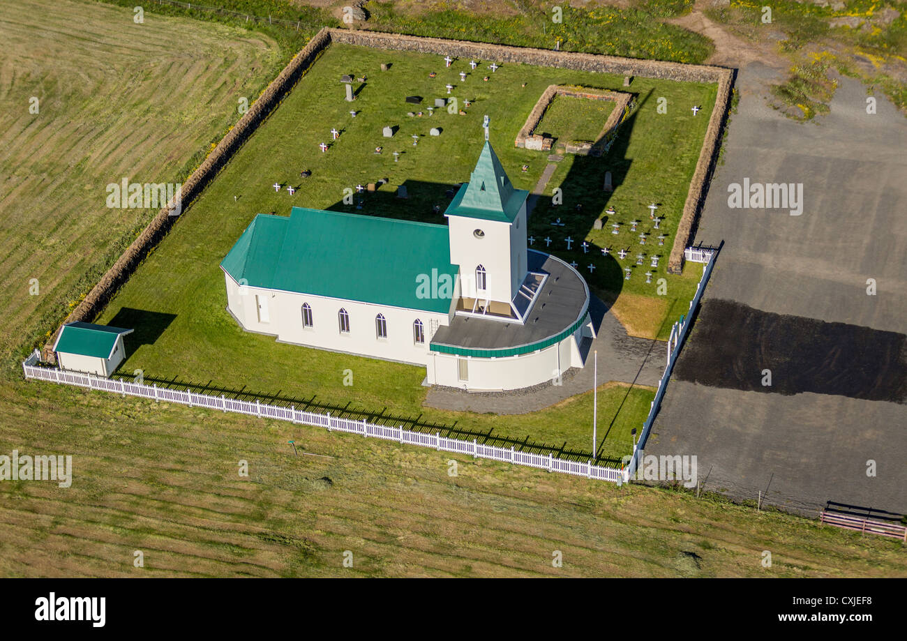 Reykjahlid Church, Iceland The village of Reykjahlid has approx. 300 people, situated on the shores of Lake Myvatn, - Stock Image