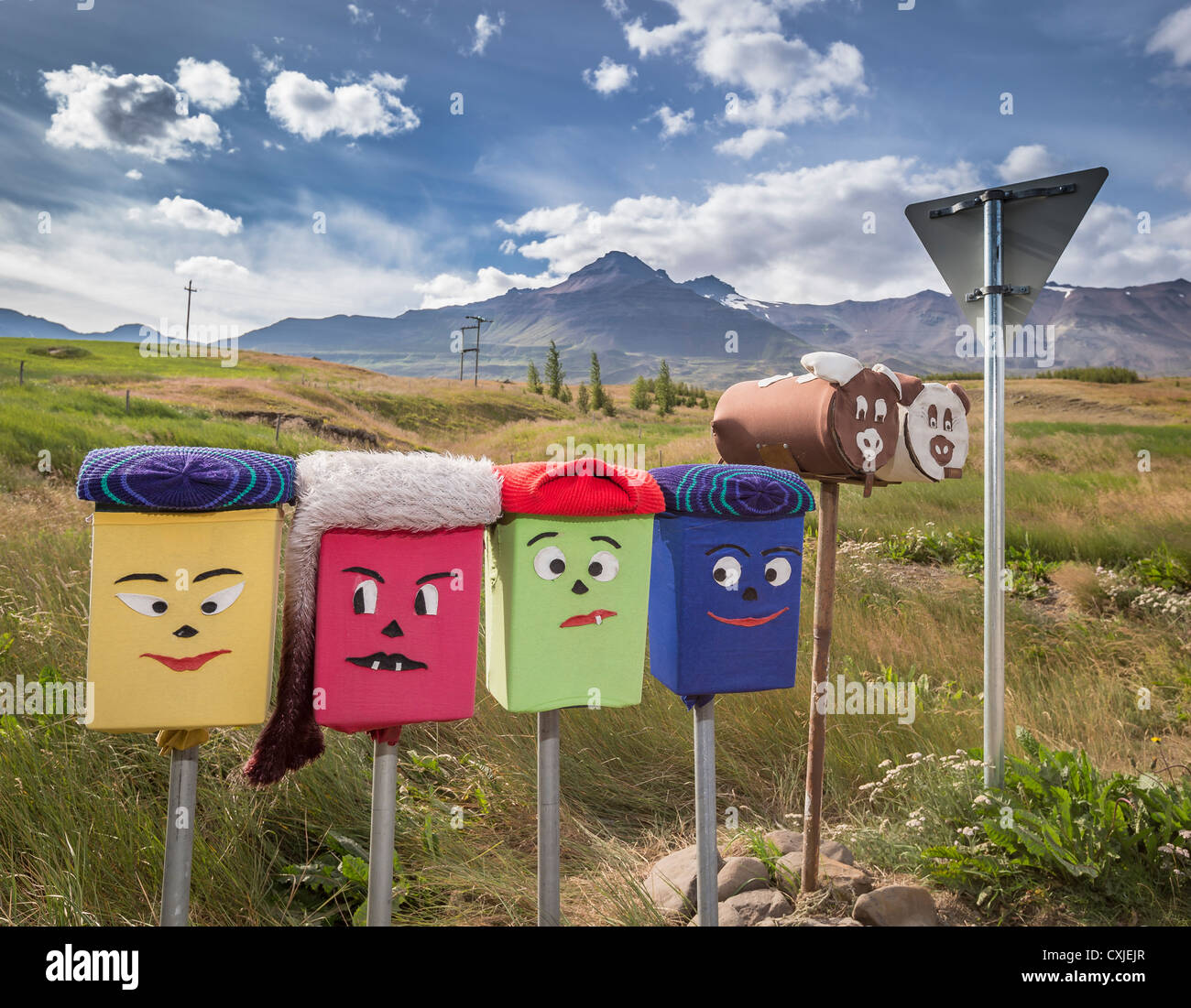 Decorated mailboxes, Northern Iceland - Stock Image