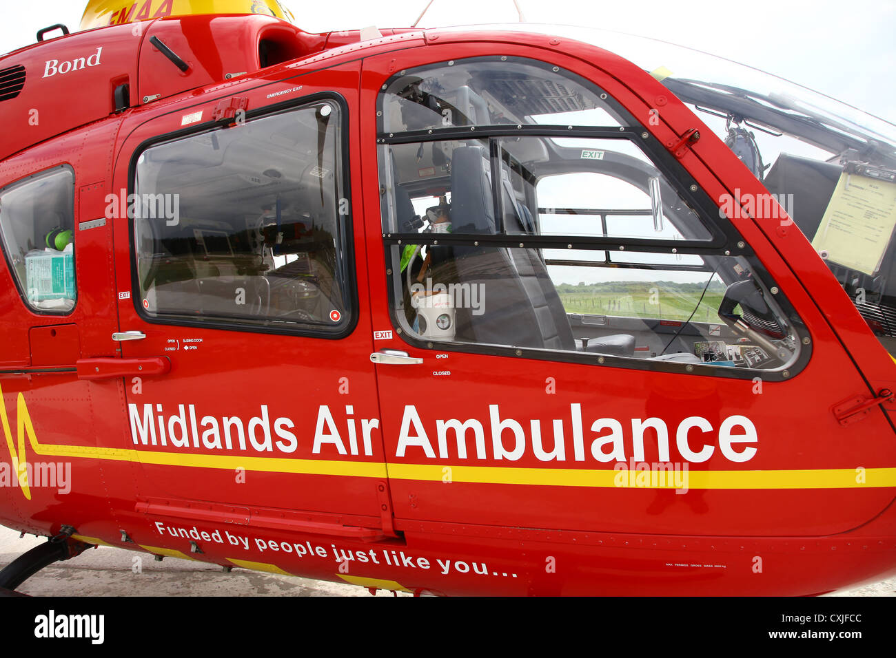 A Eurocopter EC135 helicopter used by the East Midlands Air Ambulance service - Stock Image