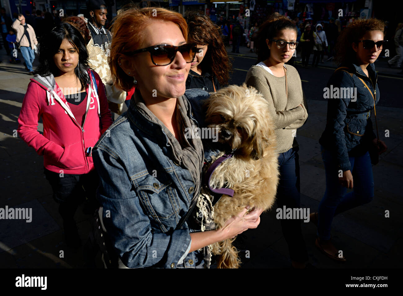 dog owner picadilly london - Stock Image