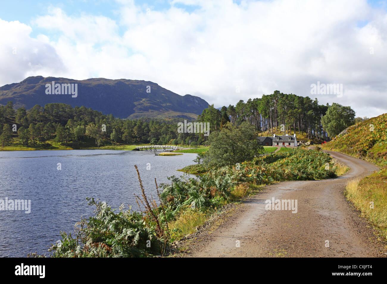 Looking towards Affric Lodge on Loch Affric Glen Affric Scottish Highlands Scotland UK - Stock Image