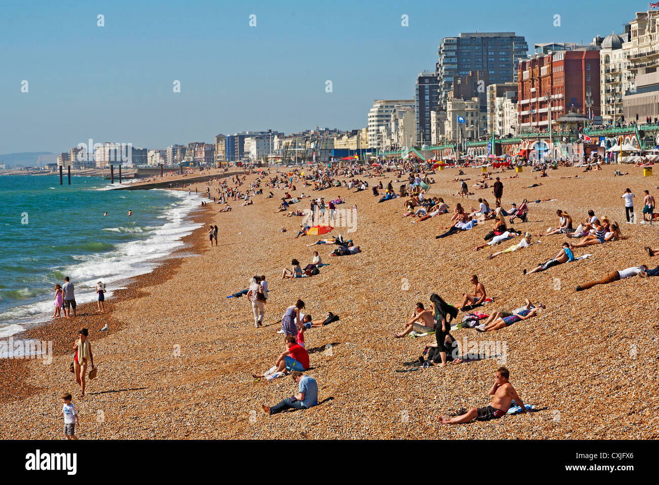 Sunbathers on Brighton Beach,Sussex, England, UK - Stock Image