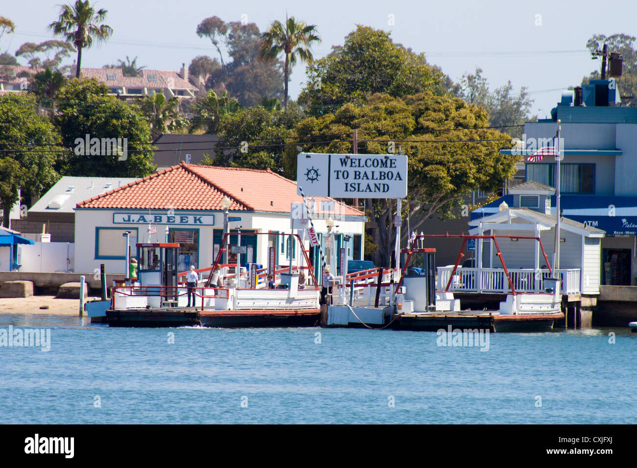 landing for balboa island car ferry balboa island california stock