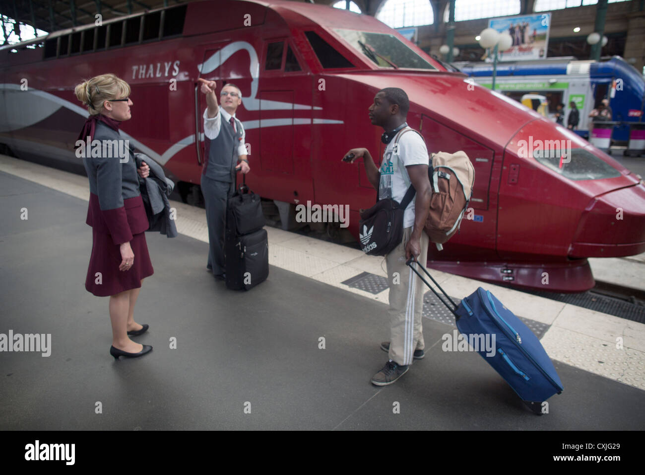 SNCF at the buffers a maroon Thalys train at Paris Gare du Nord railway station in France - Stock Image