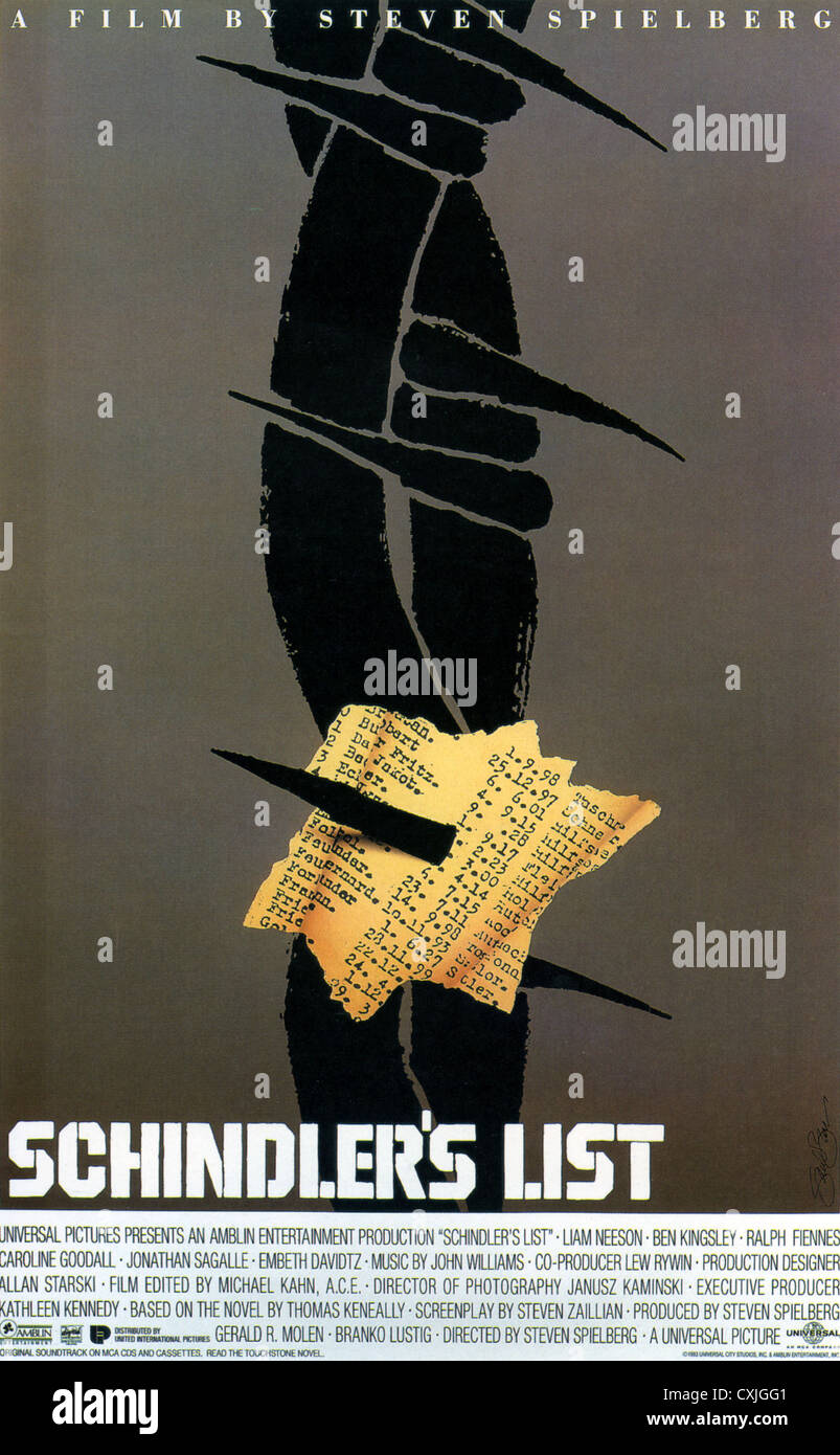 SCHINDLER'S LIST Poster for 1993 Universal film - Stock Image