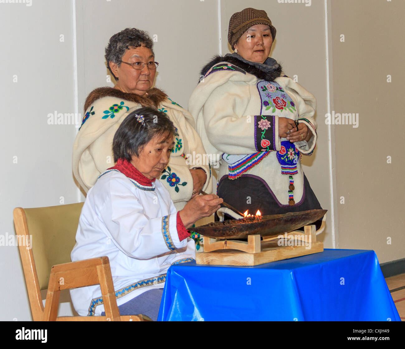 Inuit women in traditional skin clothing. Grise Fjord, Nunavut, northernmost community in Canada - Stock Image