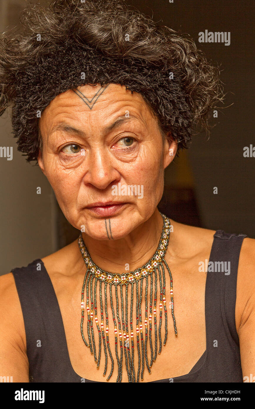 Aaju Peter, a Greenland Inuit now living in Nunavut, displays her traditional facial tattoos. - Stock Image