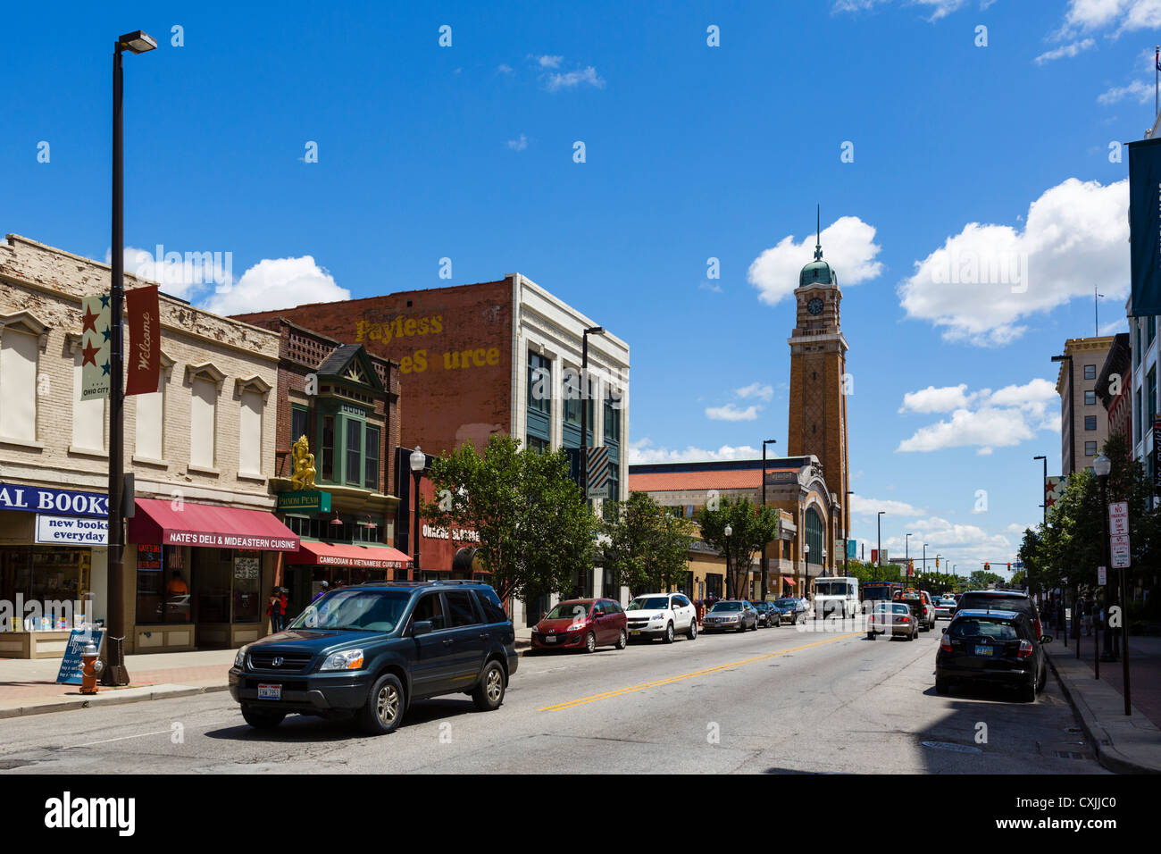 West 25th Street looking towards Market Square, Ohio City district, Cleveland, Ohio, USA - Stock Image