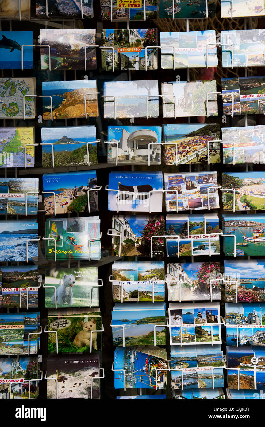 A selection of colourful postcards - Stock Image